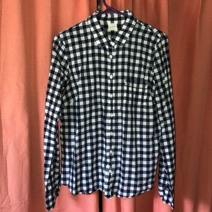 J. Crew navy blue checkered button up